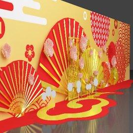 通道美陈  中式传统元素  红金