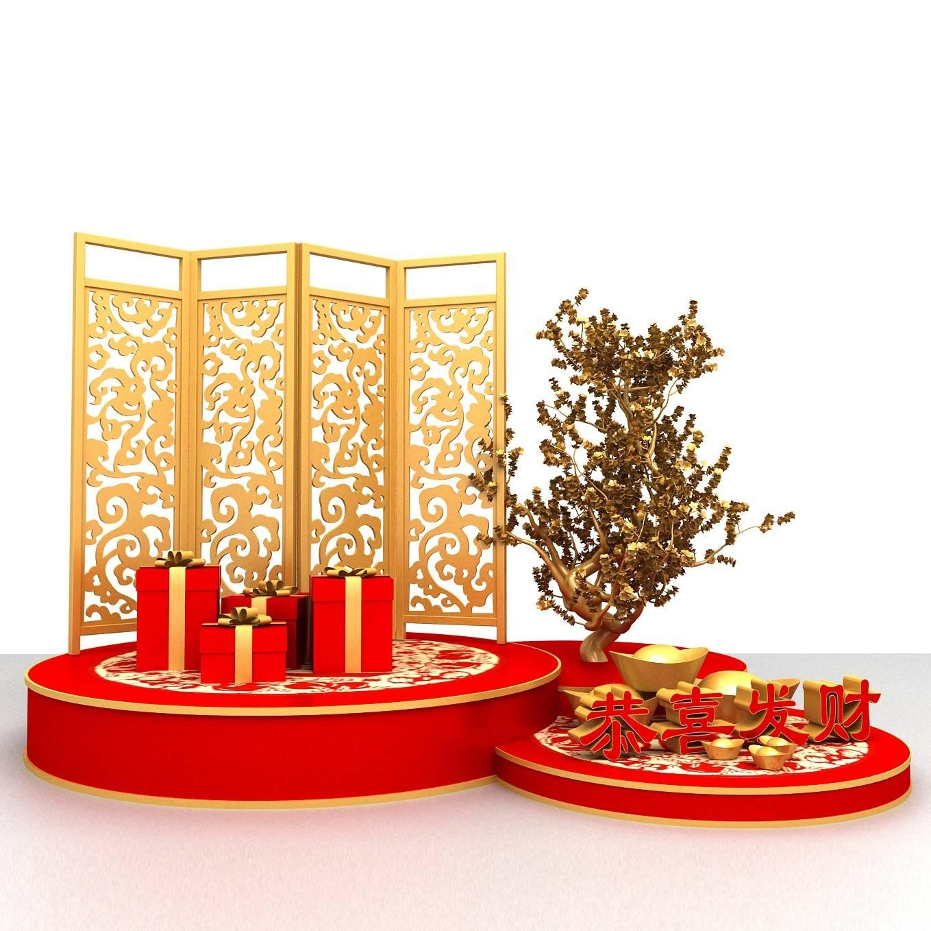 新年美陈3D模型设计装饰美陈