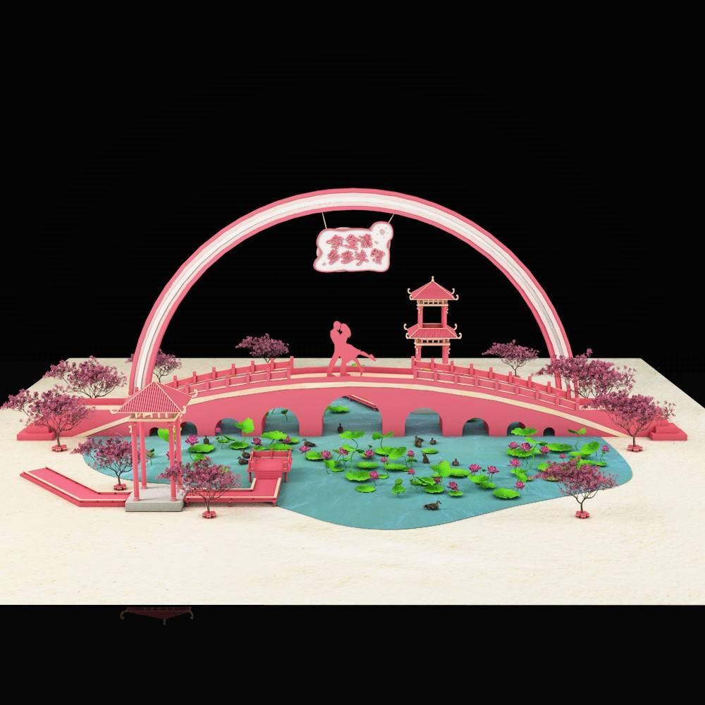 中国风情人节美陈设计素材